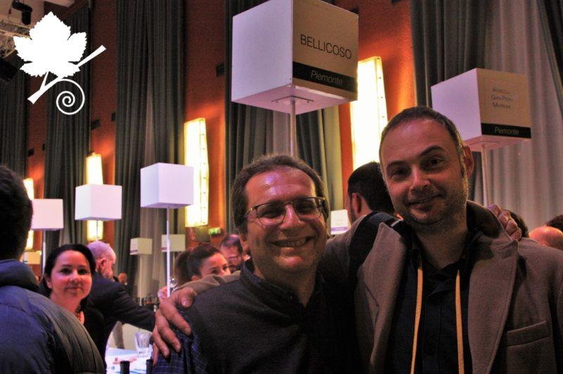 Antonio Bellicoso mi presenta i suoi vini durante l'evento