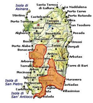 Girò di Cagliari DOC area