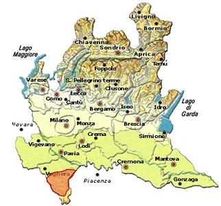 Oltrepò Pavese Metodo Classico DOCG area