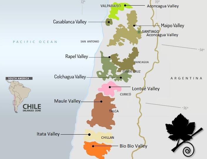 Le zone vitivinicole del Cile