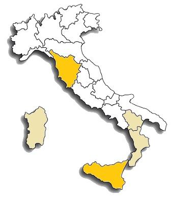 Inzolia o Ansonica - area di diffusione del vitigno