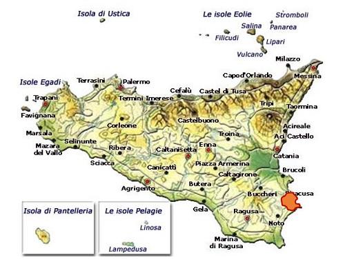 Siracusa DOC - mappa della denominazione